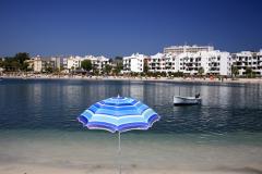 The beach and  bay at Portinatx resort, Ibiza