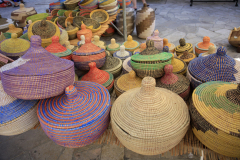 Wicker Baskets stall, market in Inca town, Mallorca