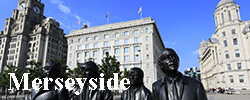 The Beatles statues, George's Parade, Pier Head, Liverpool, Merseyside,